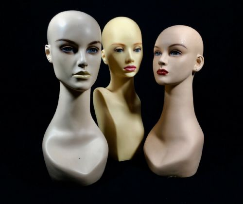 Vintage / Retro Shop Display Advertising Mannequin Heads Lady / Ladies Set Of 3